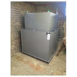 Cuve mazout 1500 litres rectangulaire fabrication en cave avec bac