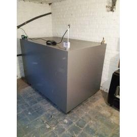 Cuve mazout 1250 litres rectangulaire simple paroi acier 3mm fabrication en cave