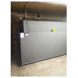 Cuve mazout 2500 litres rectangulaire fabrication en cave avec bac
